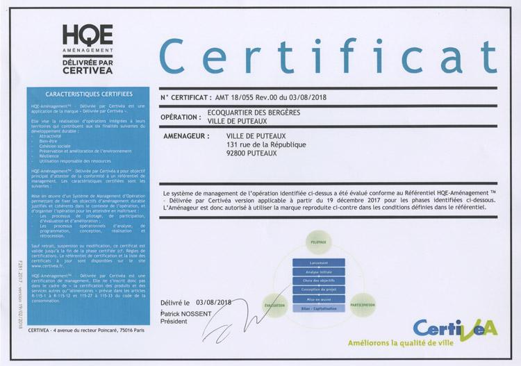 Certificat HQE de l'EcoQuartier